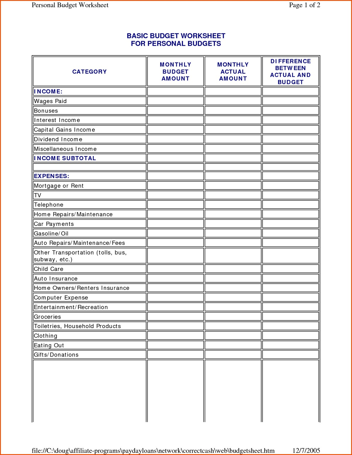 Monthly Budget Sheet Dave Ramsey