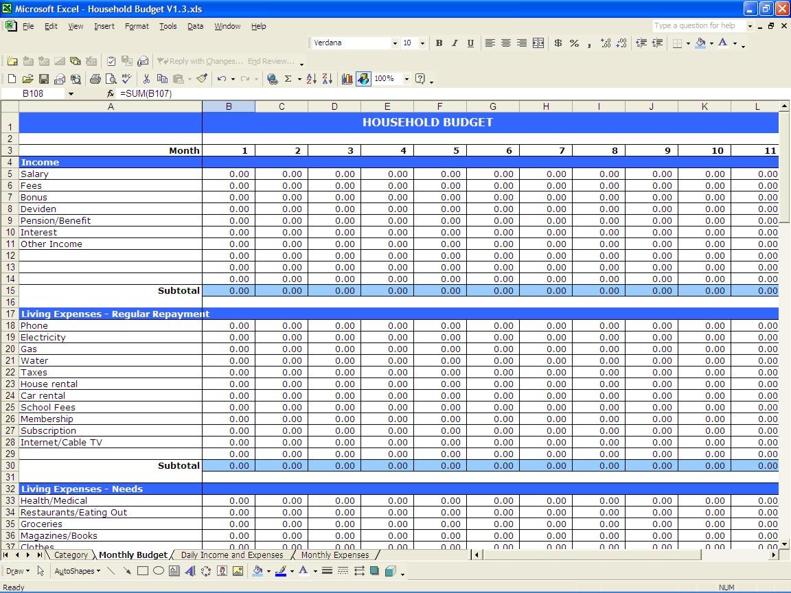 Home Expense Budget M Pence Co