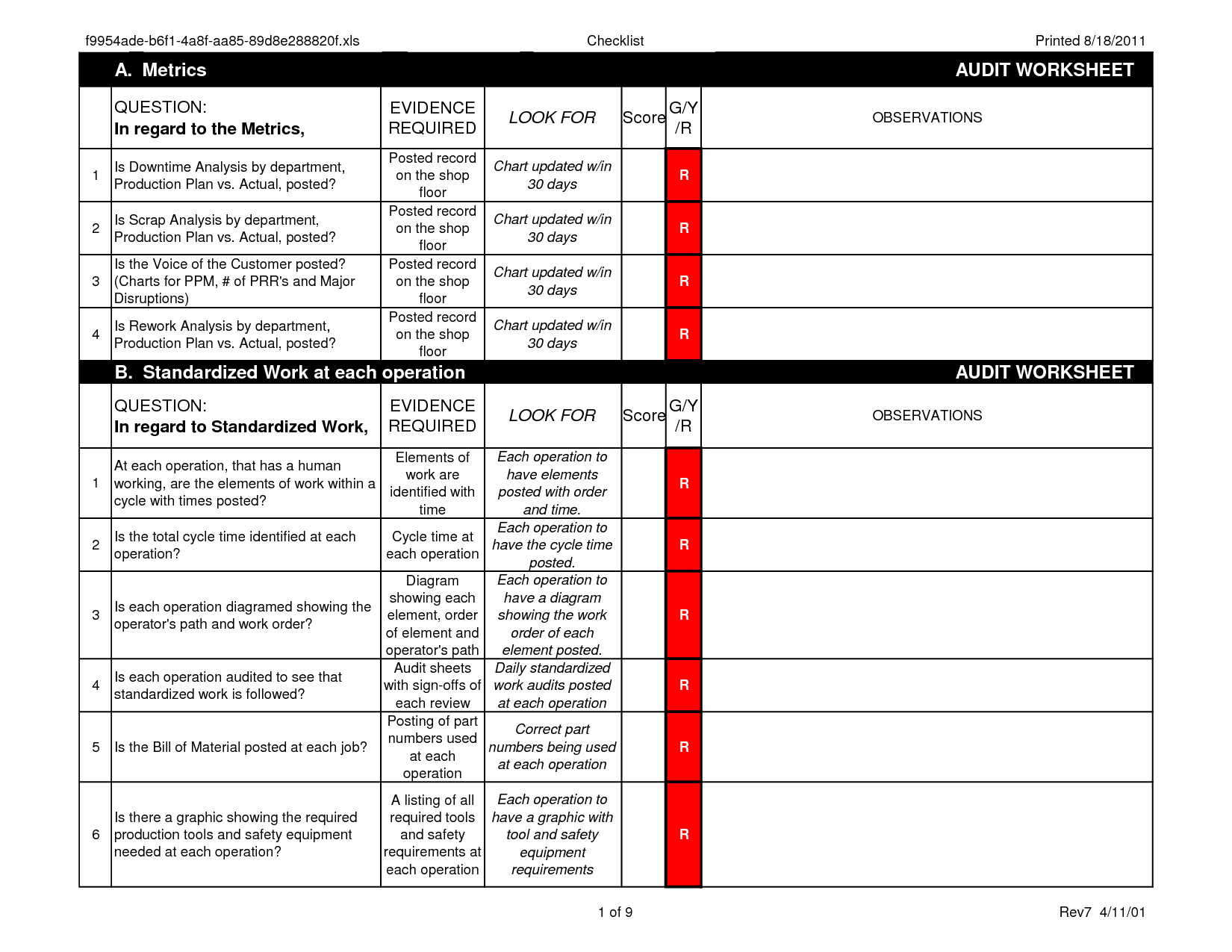 Machine Downtime Spreadsheet