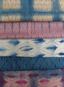 Indigo variations with woven shibori