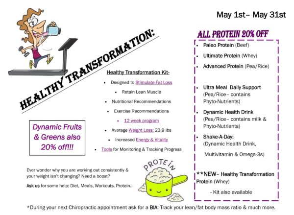 Healthy Transformations 20% off all protein May 2016