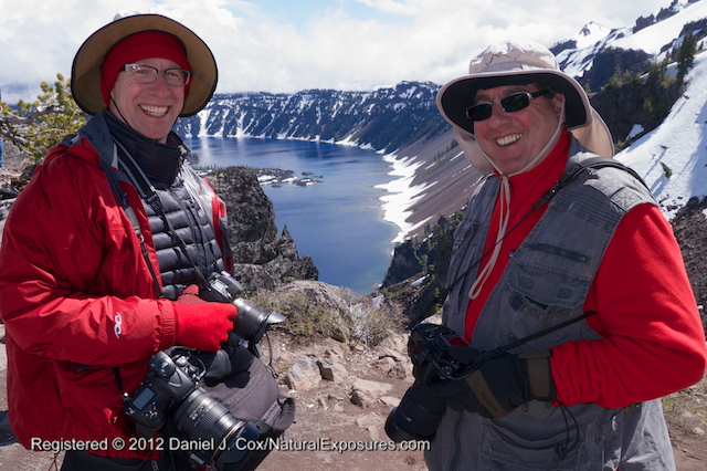 Reed and Joel share a laugh on a beautiful day along the rim of Crater Lake during the Mentors Trek to Oregon.