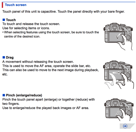 A screen shot of the GH3's manual highlighting the touch screen option,