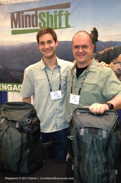 Doug Bush and Daniel Beltra at their MindShift booth showcasing their new pack. NANPA Conference.
