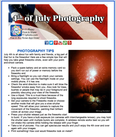 Fireworks are a blast to shoot, no pun intended:), so get out and capture the excitement! You can click on the image above to see more details from F-11 Photo.