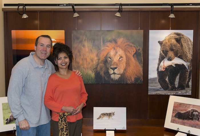 Dave and Shiela Glatz at the opening of their photographic art show at photography exhibition at the Art Gallery of the Bartlett Village Hall.