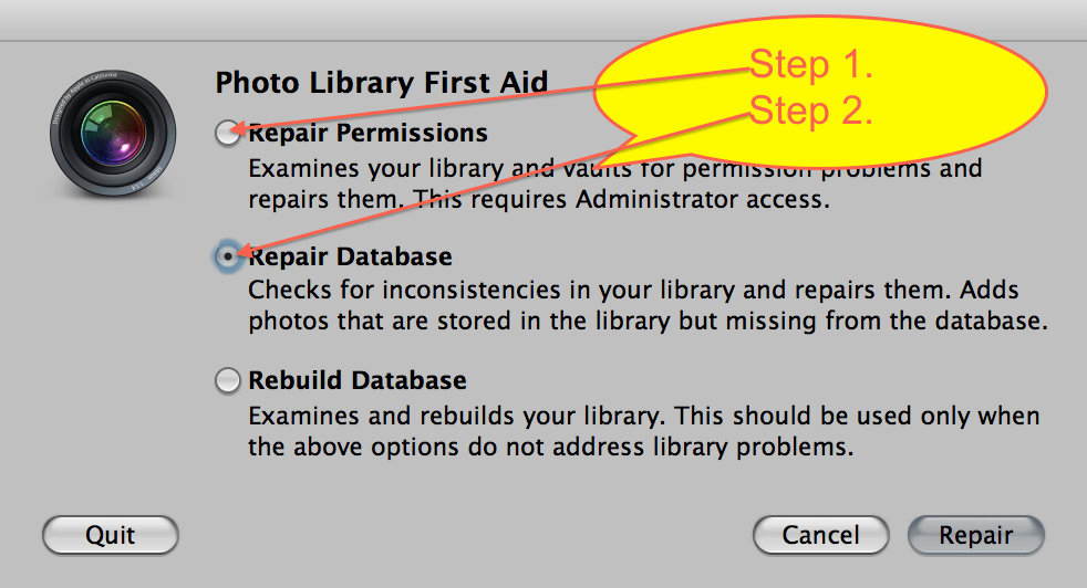 Repair Permissions and Repair Database dialog box