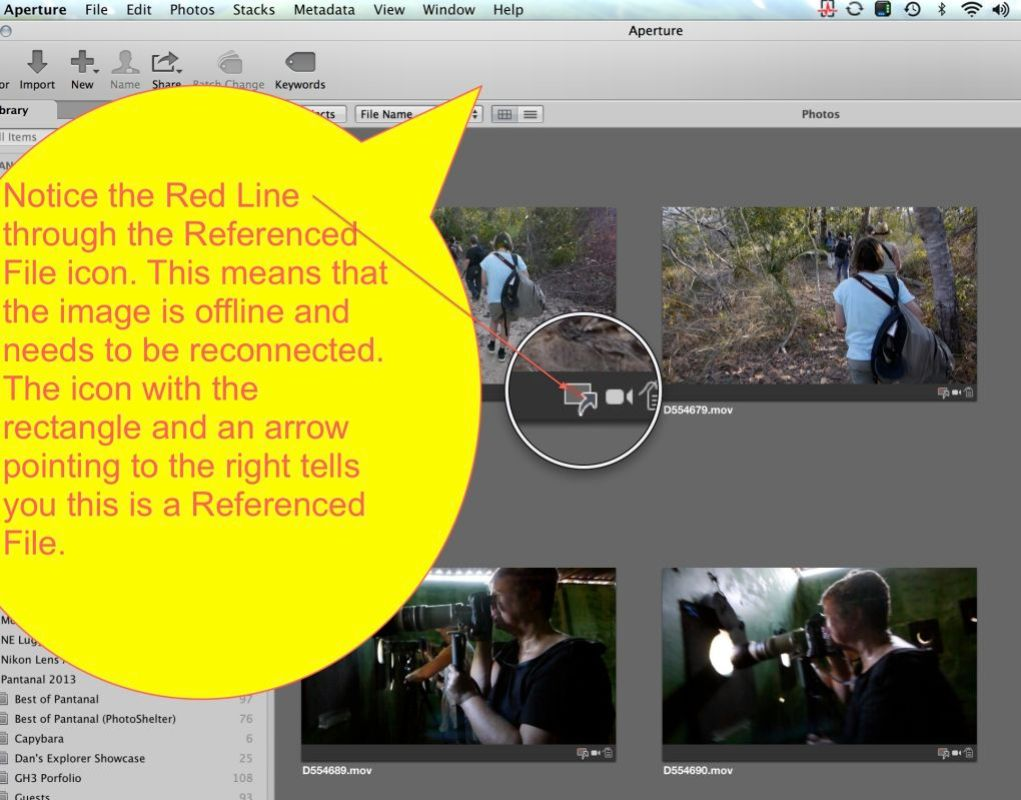 Aperture shows a samll thumbnail with an arro pointing to the right in the lower right corner of the thumbnail image. This signifies it is Referenced and Offline.