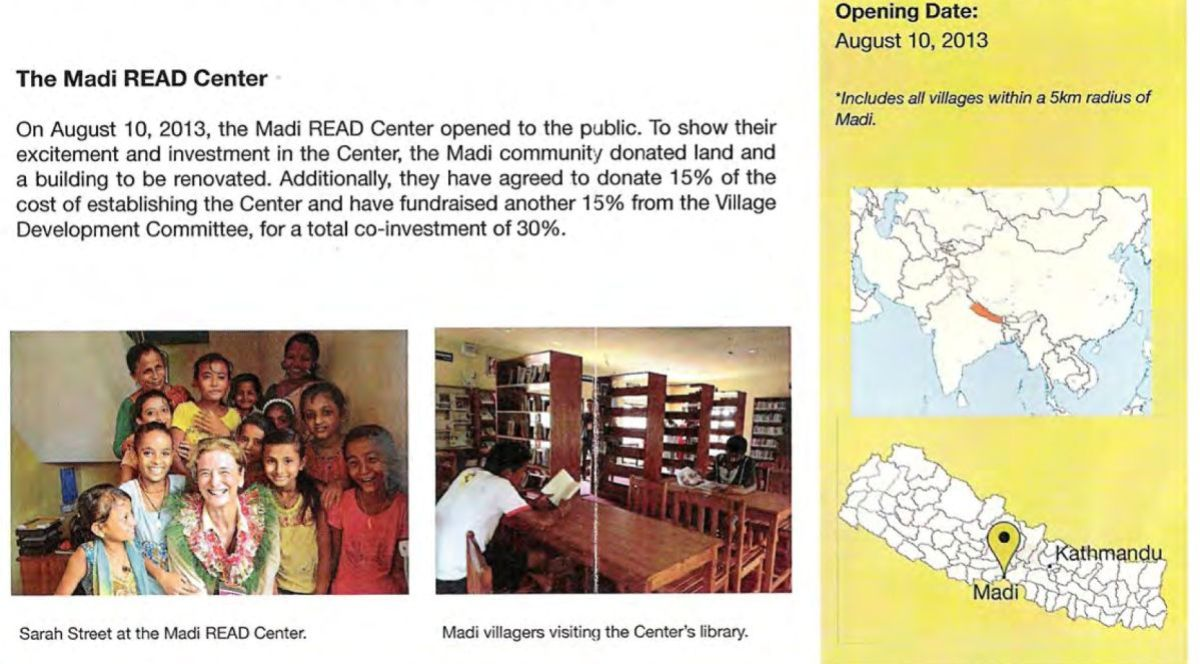 A photo of part of the Read Global Progress Report sent out to donors showcasing the Madi Read Center.