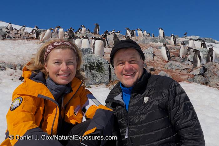 Dan and Tanya Cox on Cuverville Island. Antarctica. Lumix GH3.