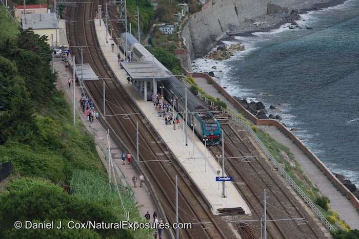 Looking down on the train station in Corniglia, Italy