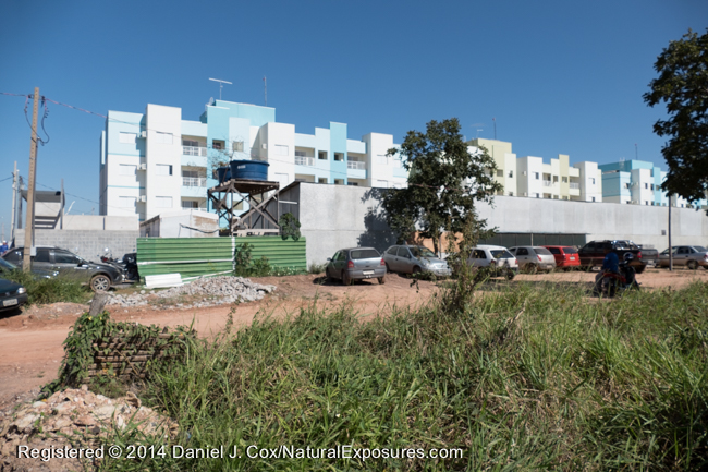 Apartment buildings being built on the edge of a private black-tailed marmoset reserve in Cuiaba, Brazil