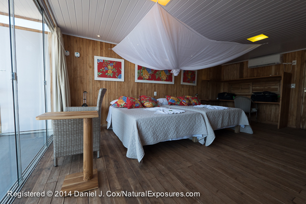 One of the suites on the Jaguar Flotel/Lodge, Pantanal, Brazil