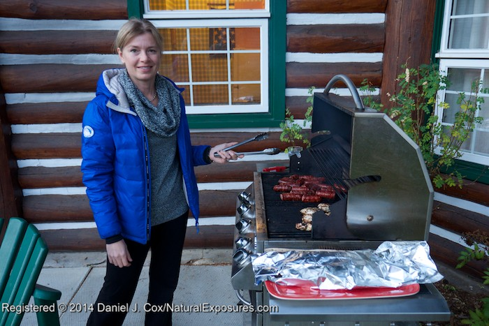 Tanya on the grill at our log lodge. Lumix GH4 with 12-35mm