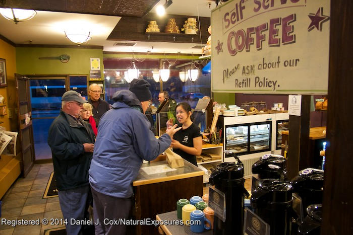 John in the lead to get a cup of coffee and other necessities at the Bear's Paw Bakery, Jasper, Alberta.