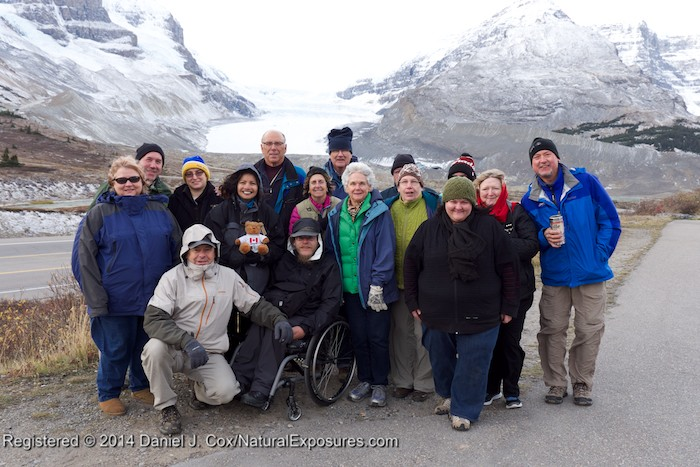 The entire crew get their photo taken at the Columbia Ice Field. Lumix GH4 with 12-35mm