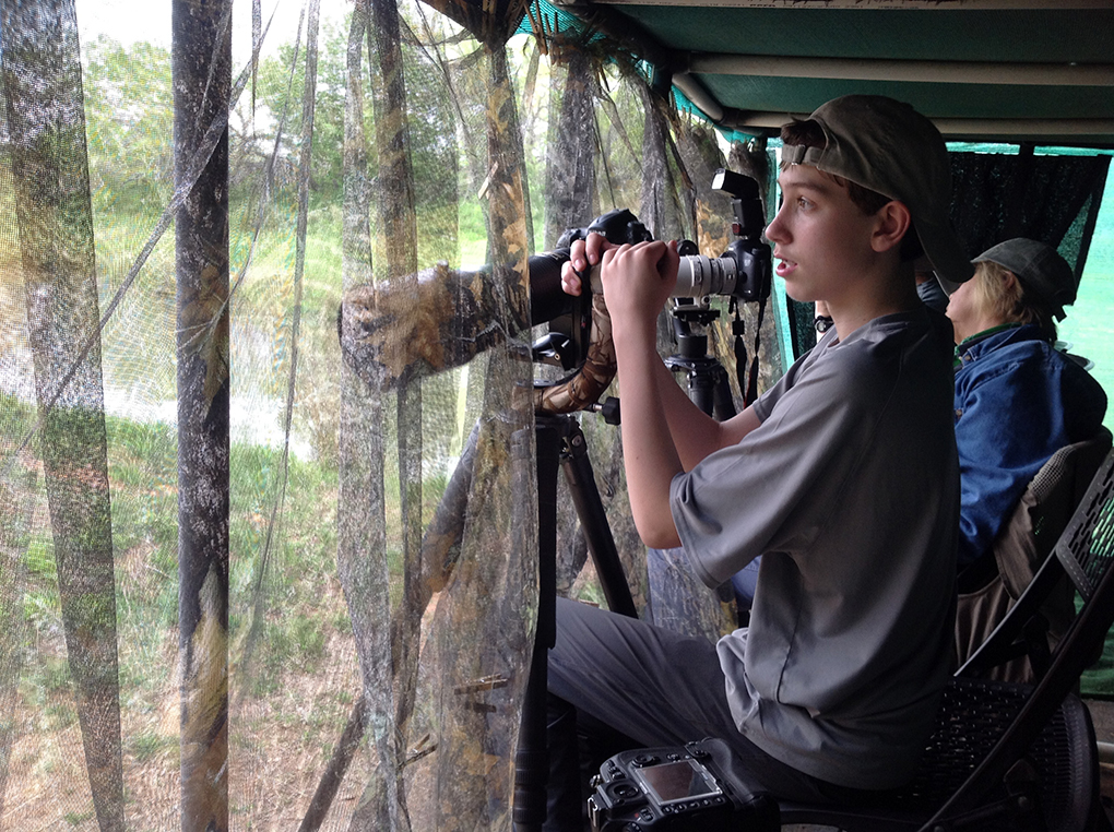 Zachary shoots from a blind in the Rio Grande Valley.