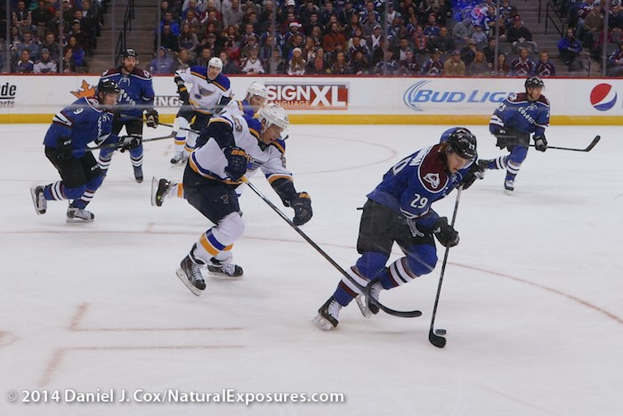 Nate MacKinnon takes off with the puck heading for the Saint Louis Blues goal tender. 8 megapixel frame pulled from Lumix LX100 in 4K Photo Mode