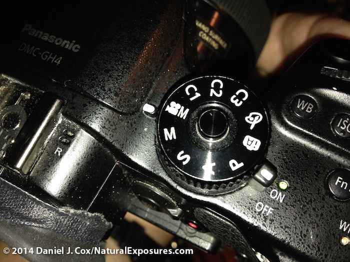 The top deck Mode dial showing the selection of VideoM for 4K video capture.