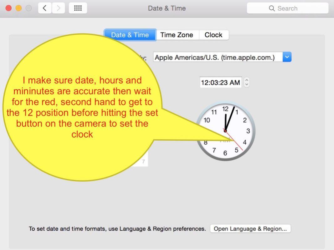 Setting mu camera clocks to all be exactly the same via my Mac's clock window.