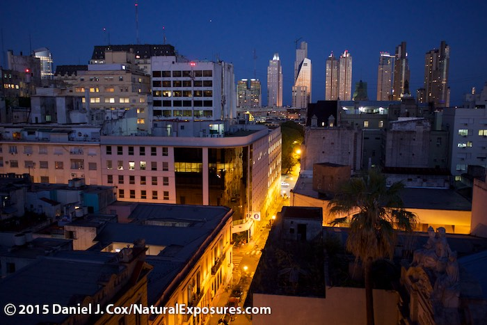 The city of Buenos Aires in the blue light of dusk shot from our hotel rooftop. Lumix GH4 with 15mm F/1.7 Lecia Summilux lens. ISO 800