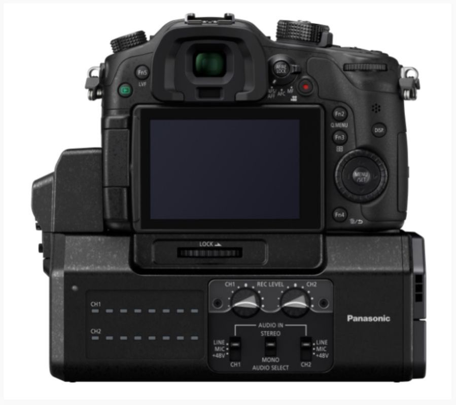 Panasonic DMW-YAGH Pro Audio Video Interface attached to the bottom of a Lumix GH4.