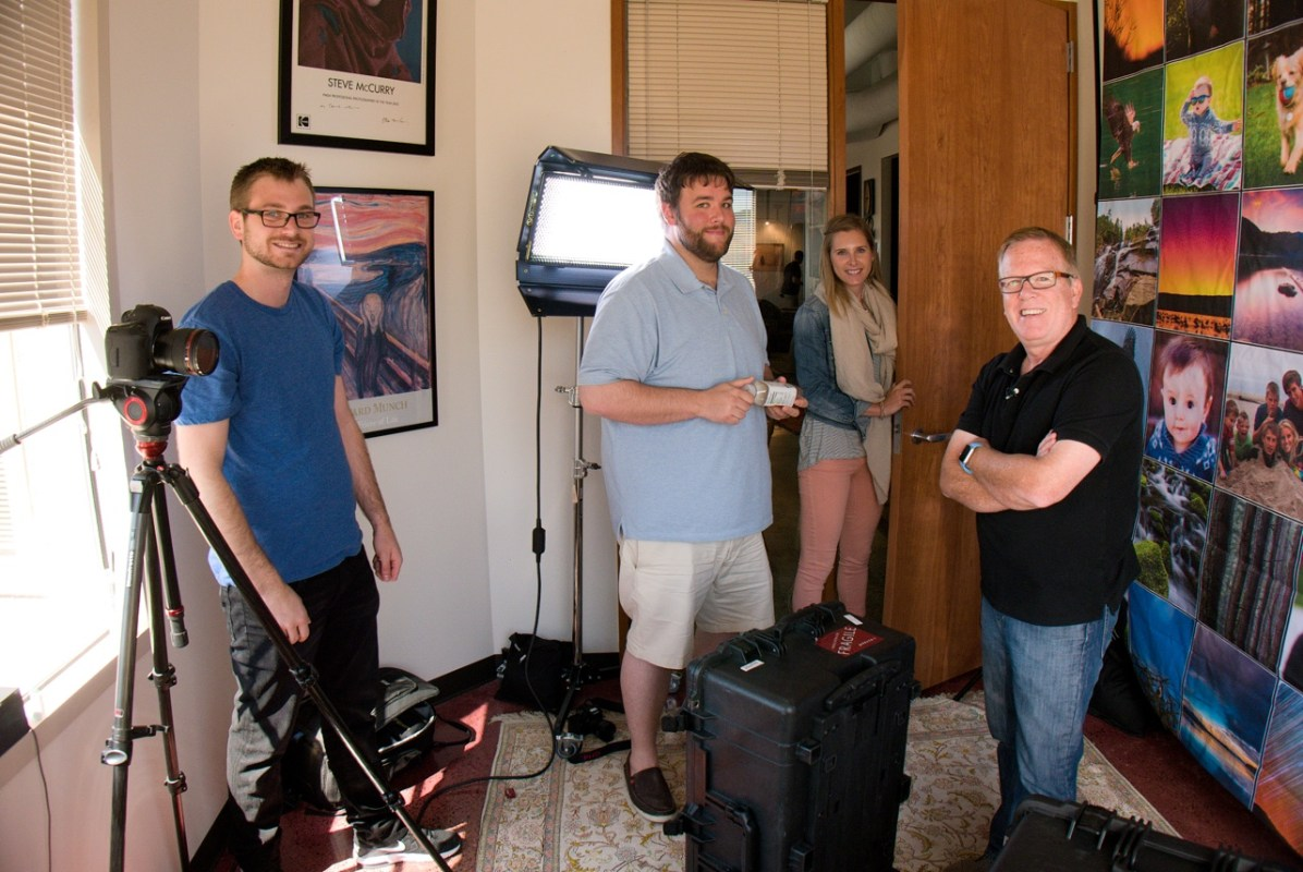 Anthony, Matt, Jen and Kevin on the set for the Mylio informational video. Seattle, Washington.
