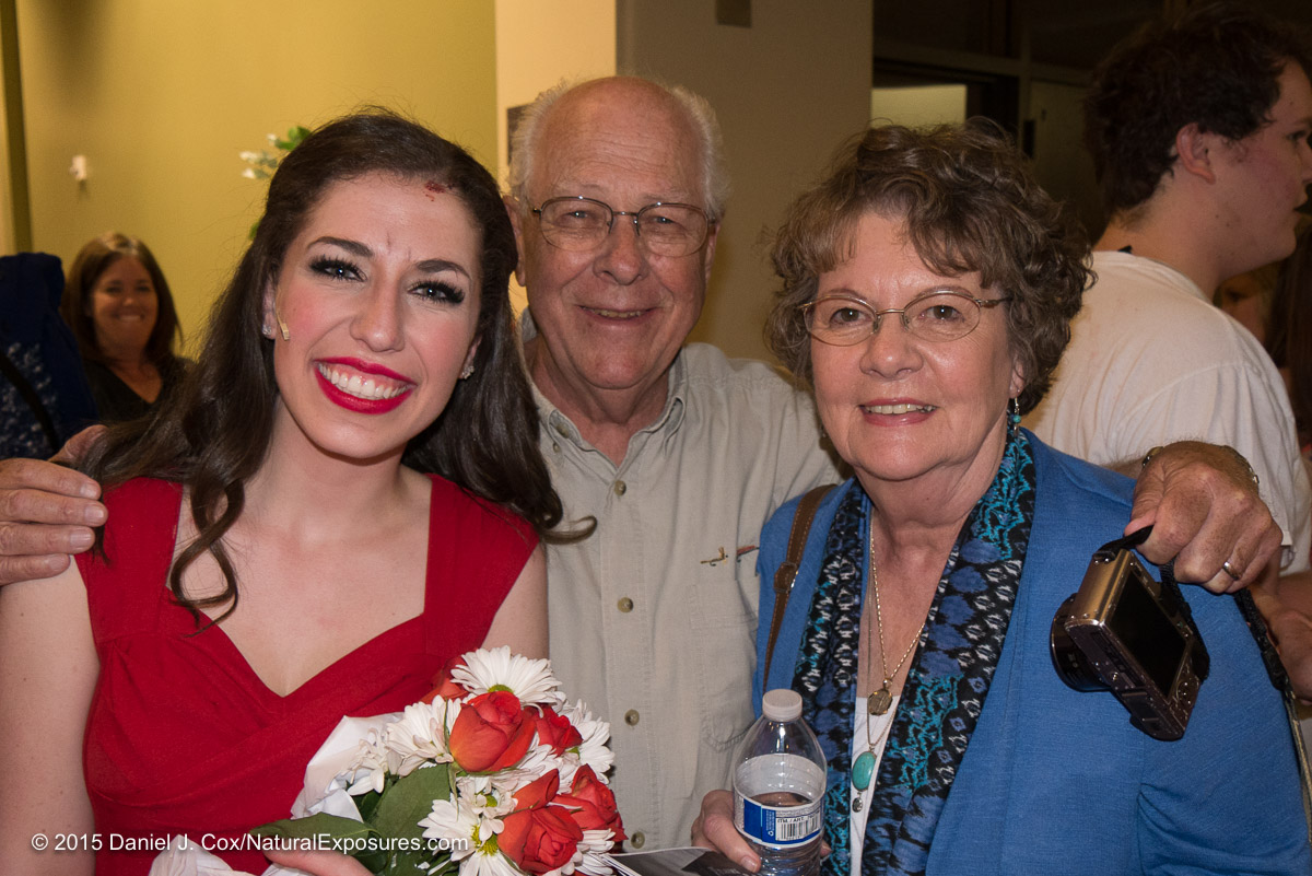 My mother and father with Olivia after the performance. Lumix G7 with 14-140mm. ISO 800
