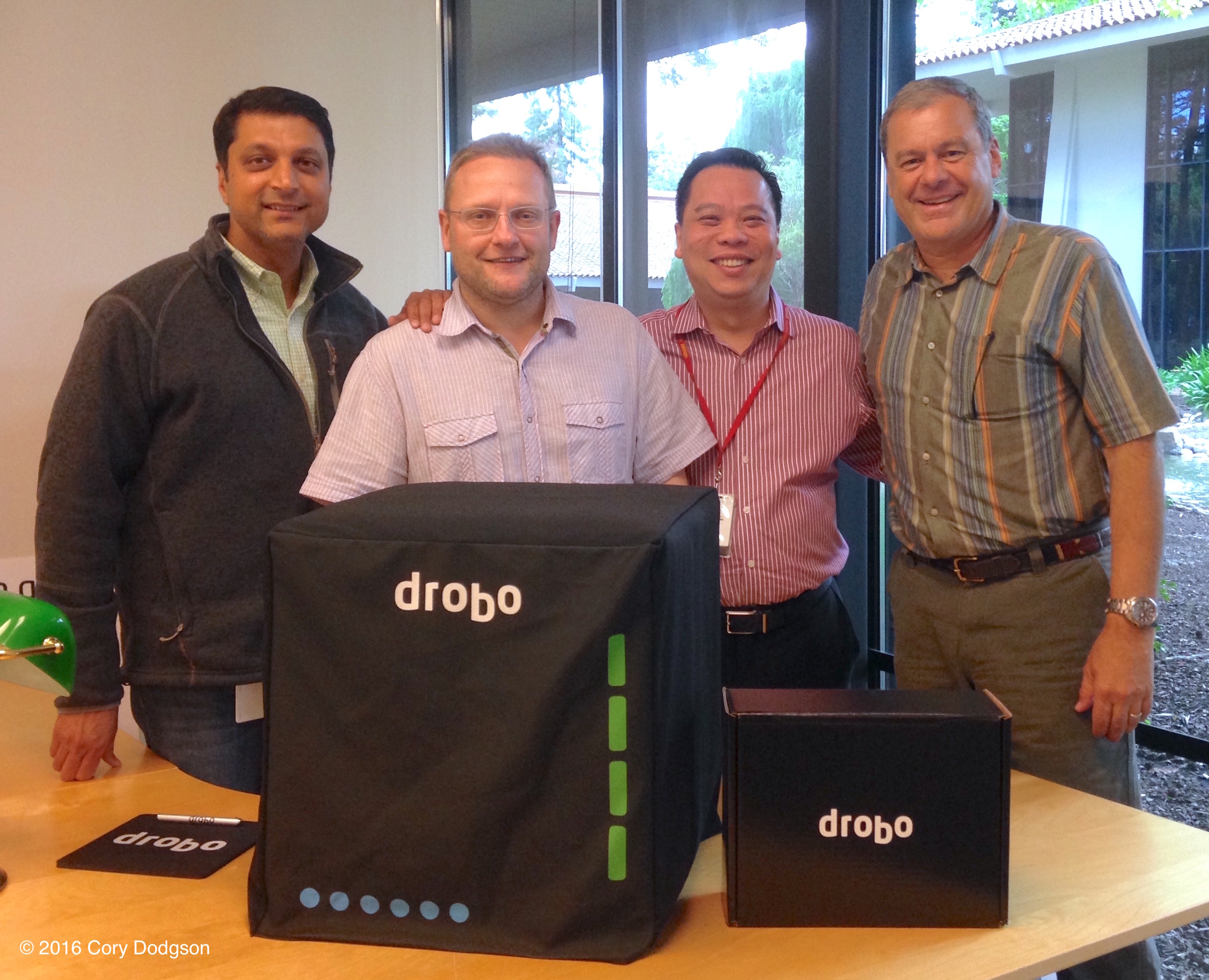 Drobo Ceo Mihir Shaw, CTo Rod Harrison, VP of Sales Tom Wong and Daniel Cox at Drobo headquarters in San Jose, Ca.