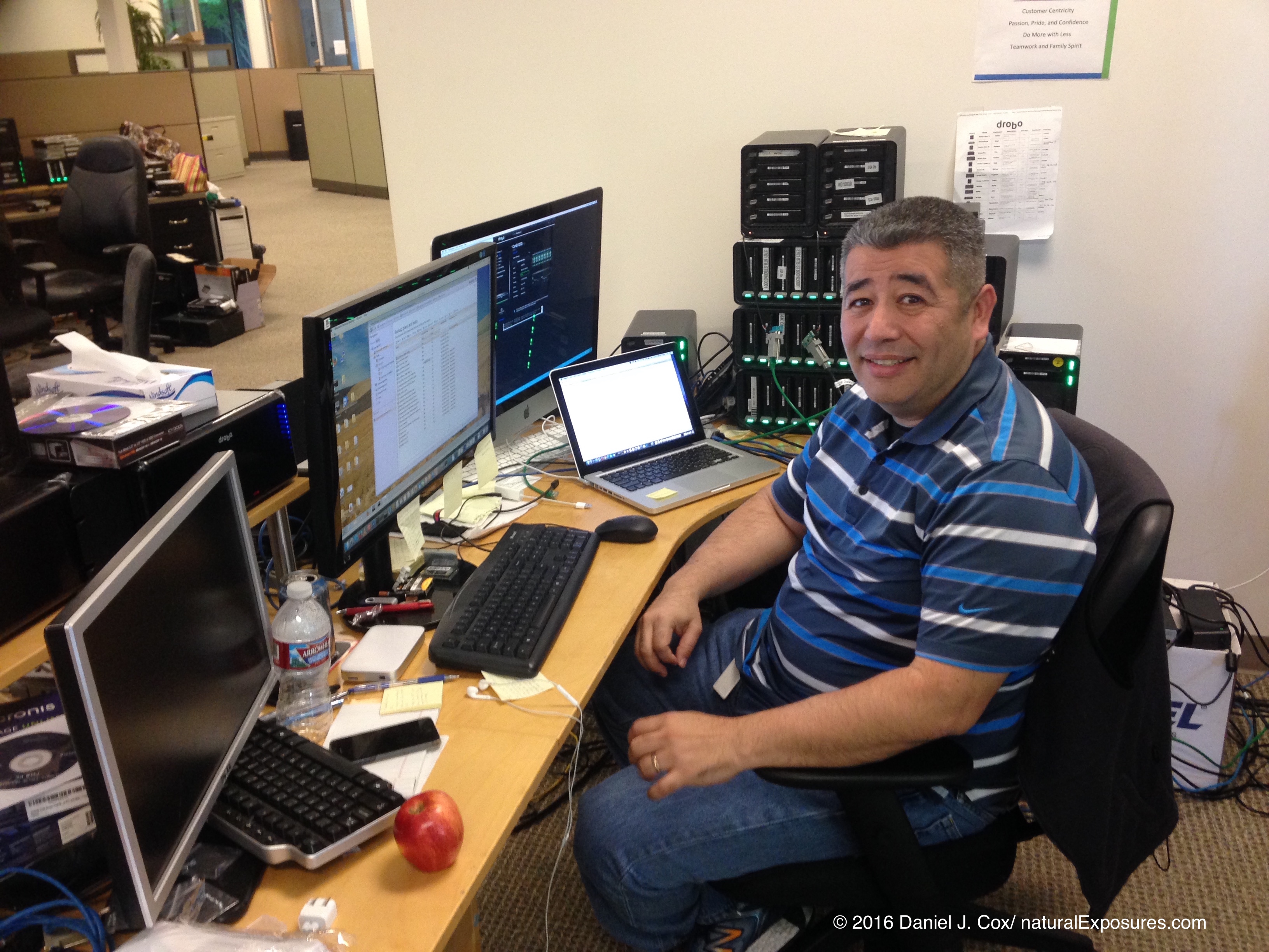 QA Software Engineer, Albert Langarica hard at work coding the great Drobo software.