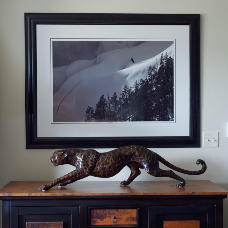 Raven Spirit fine Art print hanging in our home in Bozeman, Montana
