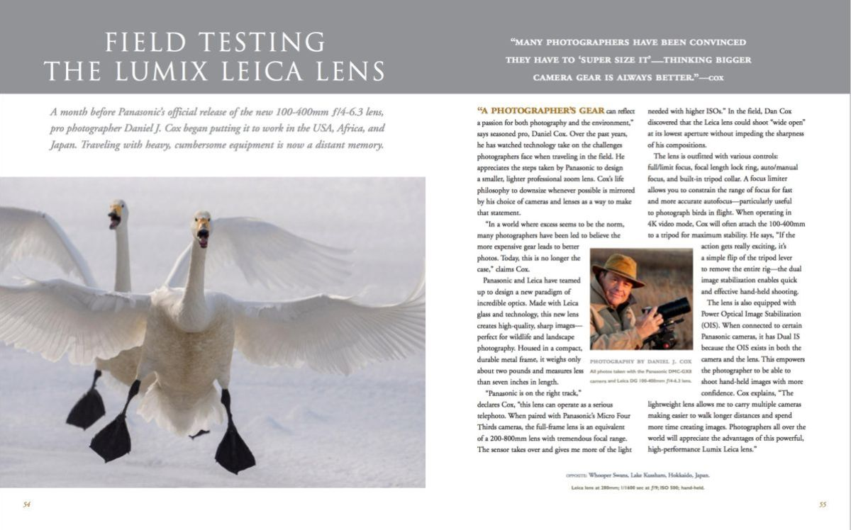 Second page of the Natue's Best article on my work with Micro Four Thirds cameras.