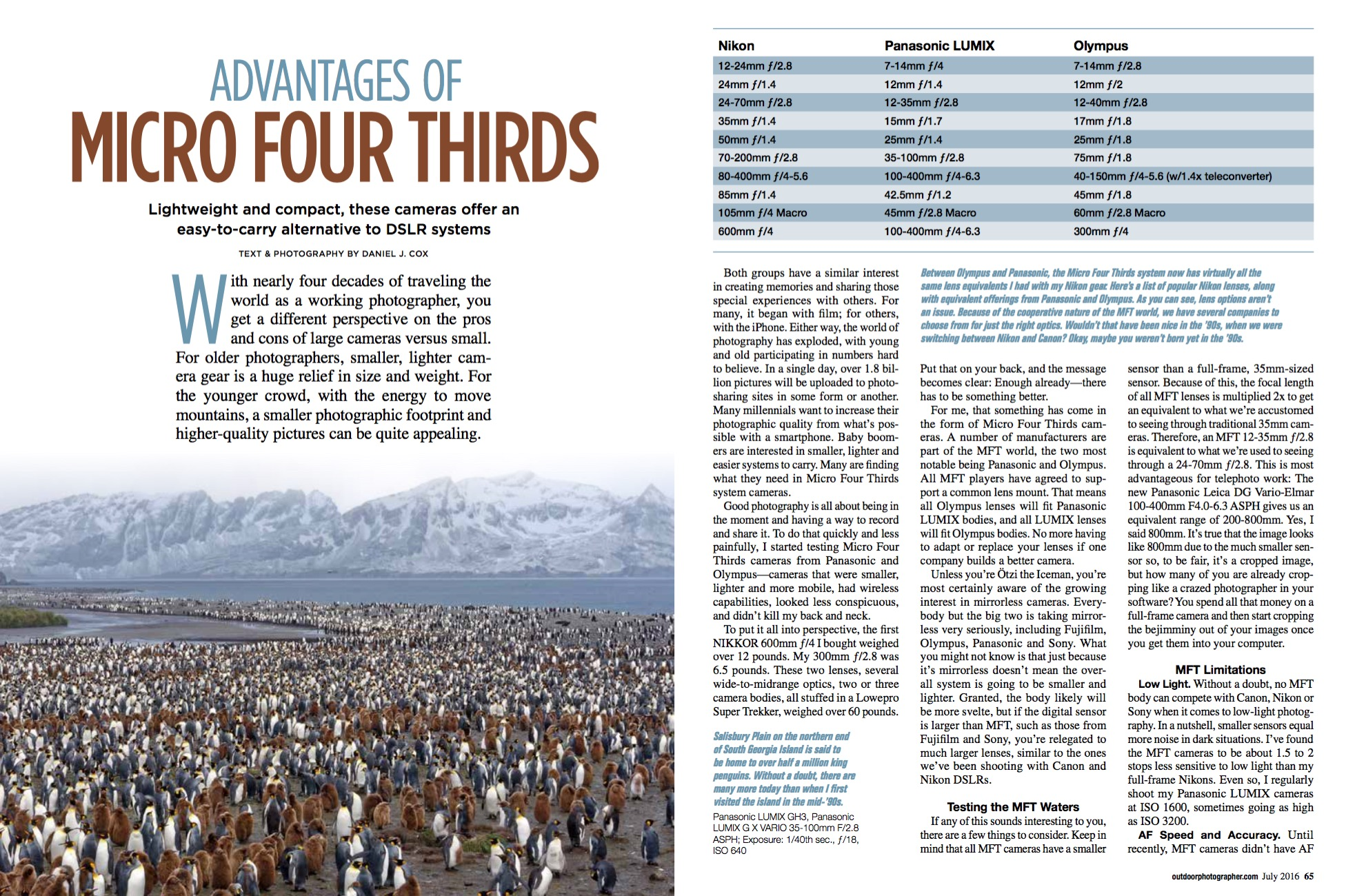 The opening spread for the article I wrote for Outdoor Photographer titled Advantages of Micro Four Thirds. Click on the image to be taken to the full story on the OP web site.