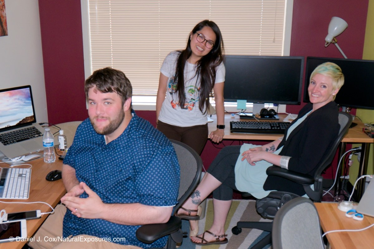 Matt, Raiza and Neo in the Mylio Control Center solving the worlds Mylio problems one call at a time. Seattle, Washington.