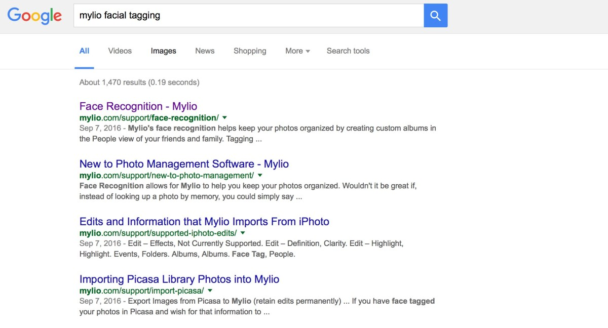 "A simple Google Search of up ""Mylio facial tagging"" brought up Face–Recognition Mylio"