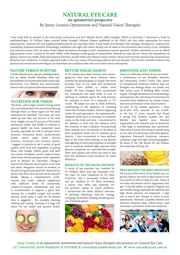 Jenny's article on Natural Eye Care