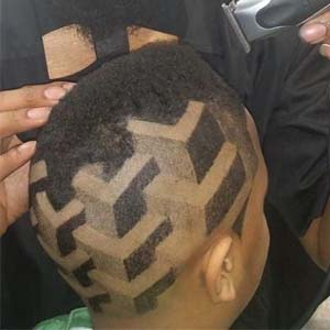 3d cube faded haircut design