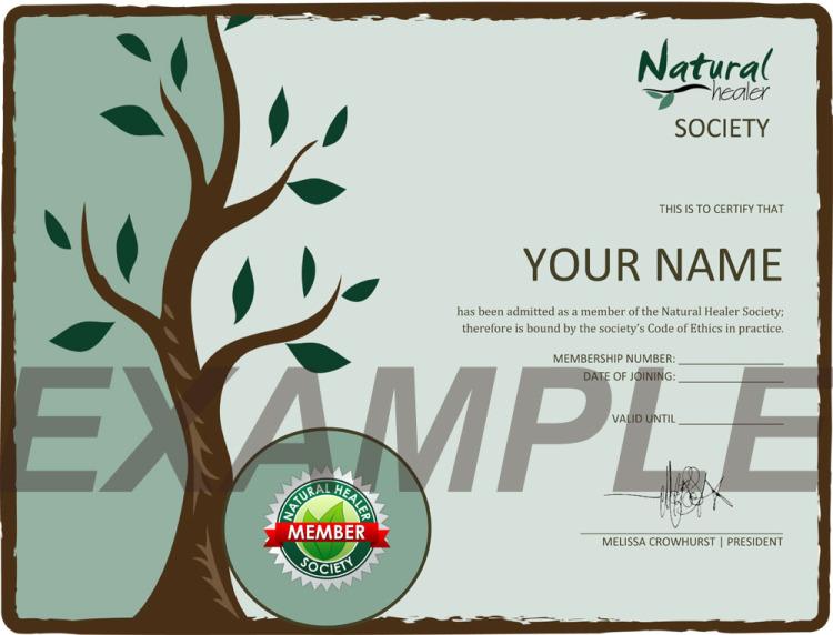 Natural Healer Society Certificate
