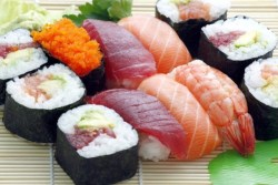 Foods that cause gout: Image of different types of sushi fish.