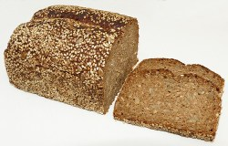 ways to increase fiber intake: Image of loaf of whole wheat bread