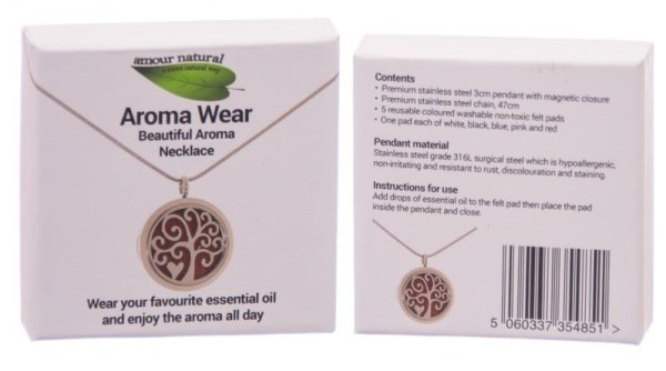 """Aromatherapy Necklace model nr2 """"Tree with Heart"""""""