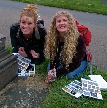 Chloe and Katy looking for lichens