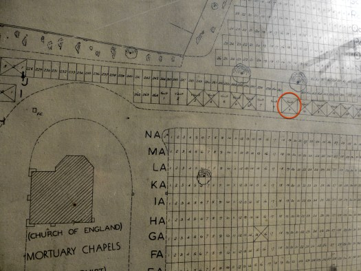 Photo showing a map of the cemetery with the Vault 9 encircled in red