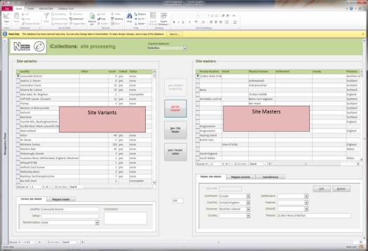 Screen shot showing the user interface for iCollections, with two columns for the two different lists in view