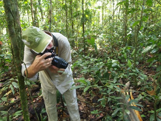 Photo showing Kelly holding an SLR camera and taking a photo of a specimen on a leaf