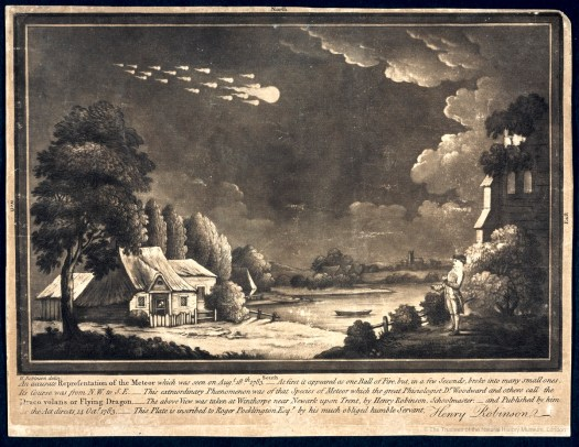 Photo of the printed engraving and its accompanying legend, showing a large ball of flame with several smaller ones behind it streaking through the sky, with an observer on the ground watching it.