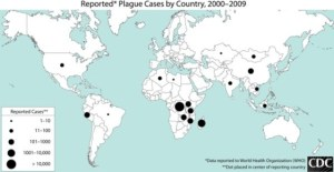 Graphic showing the world in projection with black spots indicating locations of reported plague cases between 2000 and 2009. The size of the spots reflects the number of individual cases reported.