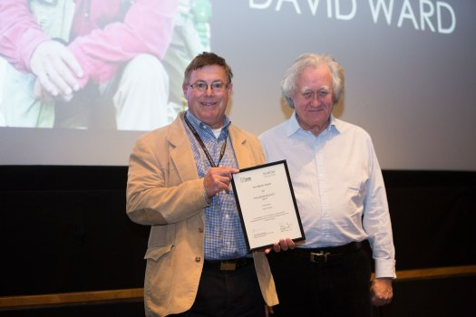 David Ward (left) receiving his award from Brian Marsh
