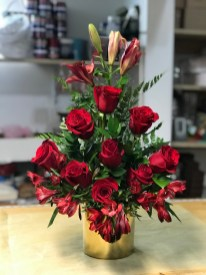 LVRE017-Red roses,red lilies and red astromeliasSpecial: $90.00