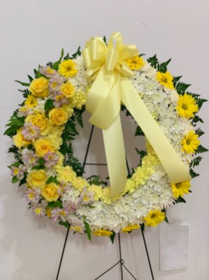 FNR020 Funeral Wreath with yellow roses. $235.00